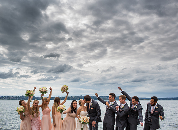 Wedding Party On The Dock By Lake Washington Near The Woodmark Hotel