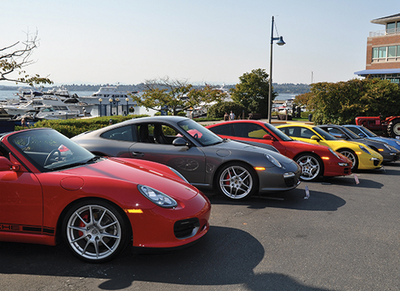All Porsche Grand Display at Carillon Point - The Woodmark Hotel in Kirkland Washington